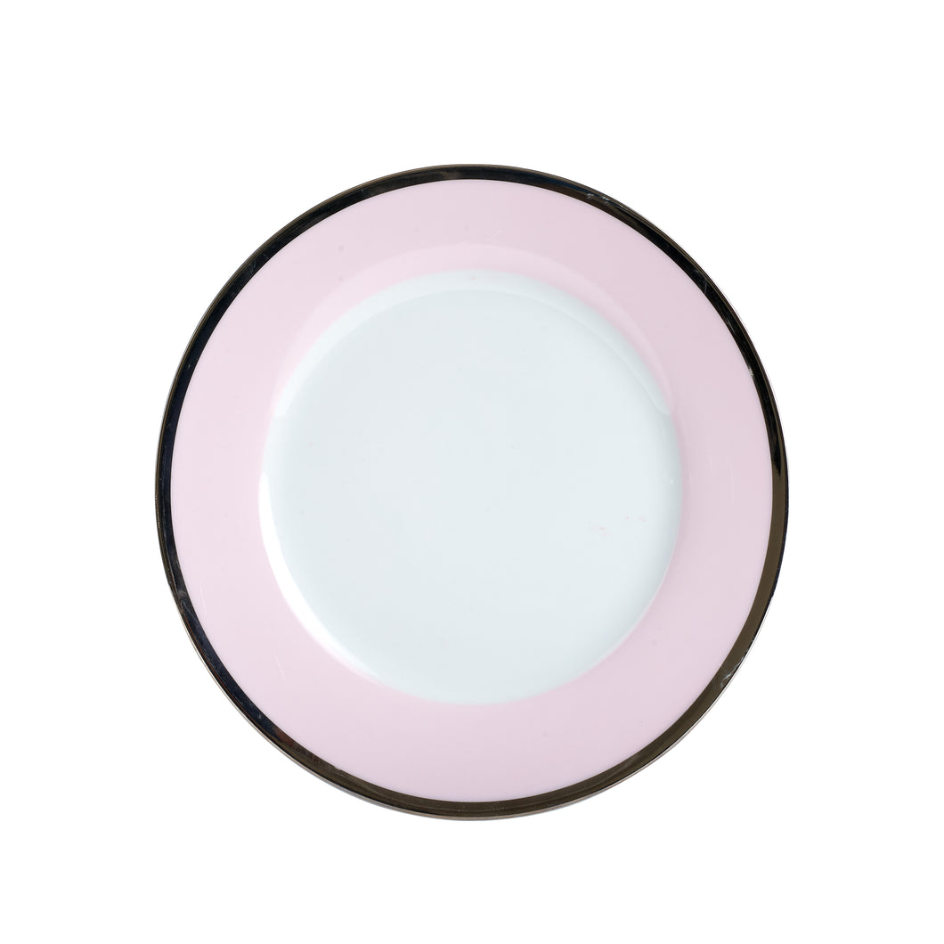 Md Pale Pink Plate With Dark Rim