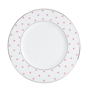 Lg White Plate With Pink Polka Dot Rim