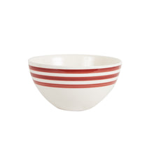 Md White Bowl With Red Stripes