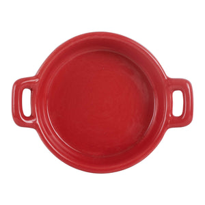 Sm Red Shallow Bowl With Handles