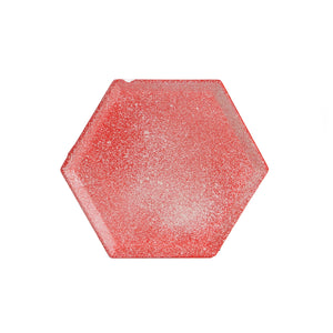 Sm Red Hexagon Plate Dusted With Cream