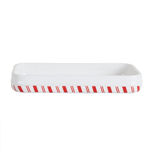 White Platter With Red Candy Cane Striped Bottom