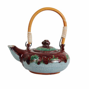 Md Red and Grey Asian Inspired Tea Pot With Green Accents