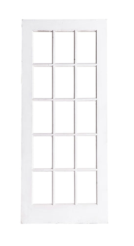 Lg White Door With Glass Panes, Natural Back