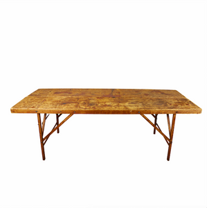 Lg Collapsible Worn Wood Table