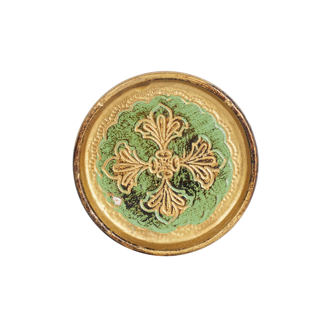 Wood Coaster With Gold Ornate Design