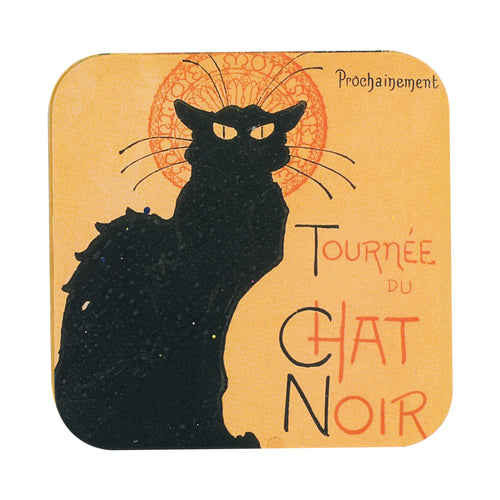 Wood Coaster With French Black Cat Print
