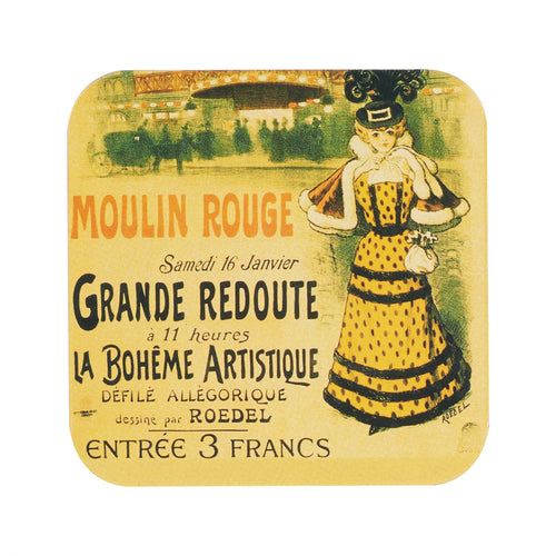 Wood Coaster With Moulin Rouge Print