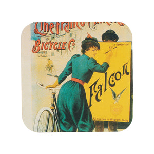 Wood Coaster With French Bicycle Print