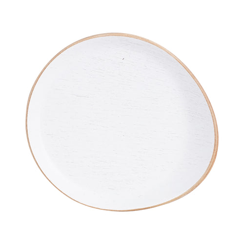 White Wood Coaster With Rim