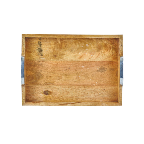 Md Wooden Tray With Metal Handles