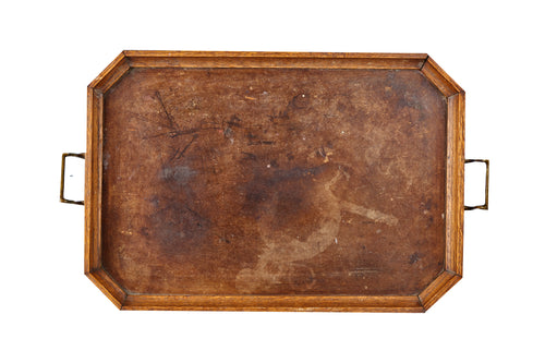 Lg Wooden Tray With Metal Handles
