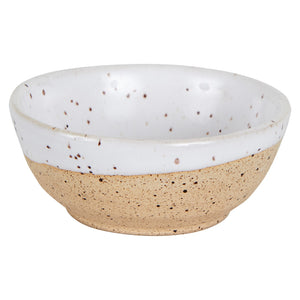 Sm White Bowl With Speckles and Beige Base