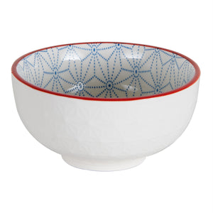Sm White Bowl With Blue Pattern and Red Rim