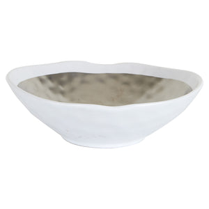 White Bowl With Metallic Inside