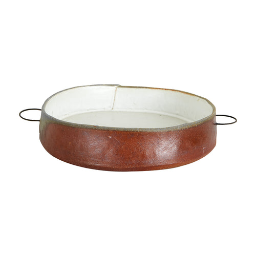 Md White Bowl with Metal Handles And Brown Edges