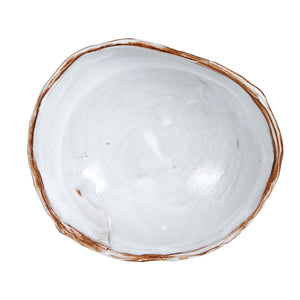 Md White Bowl With Organic Shaped Brown Edges