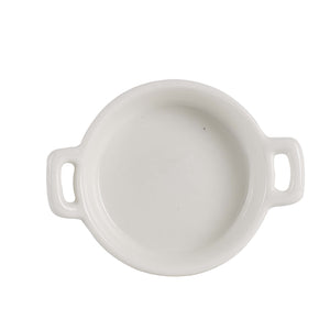 Sm White Shallow Bowl With Handles