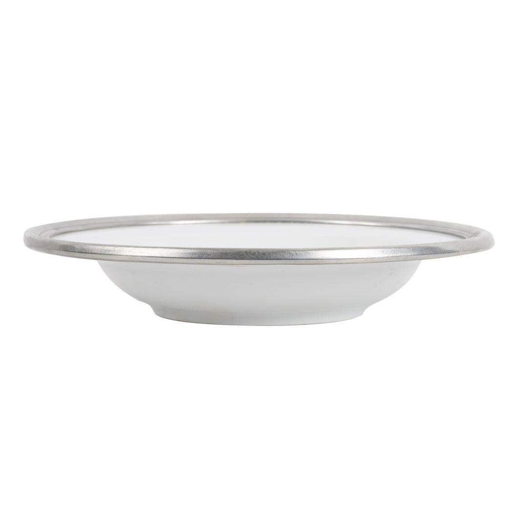 Lg White Bowl With Silver Metal Rim