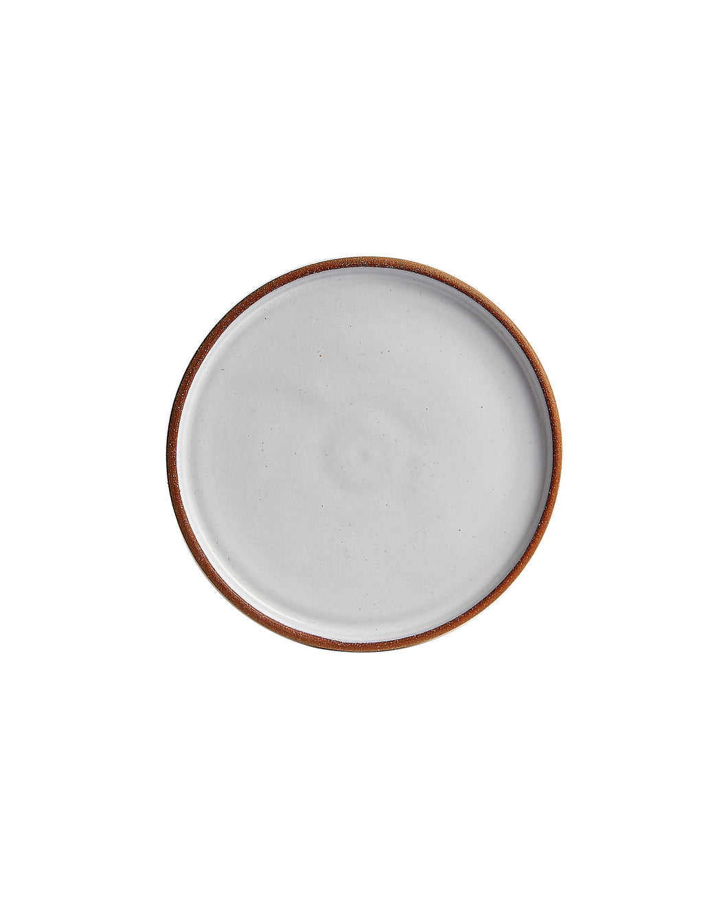 White Plate With Lightly Burnt Orange Edges