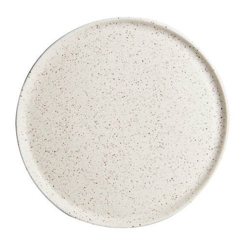 White Plate With Earthy Magenta Speckles