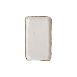Sm Rectangle White Plate with Gold Rim