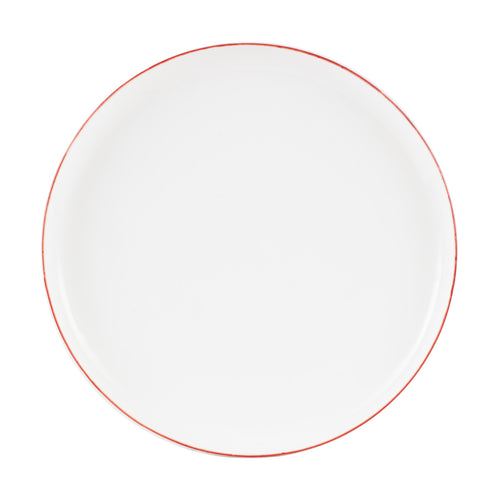 Lg White Plate With Red Rim
