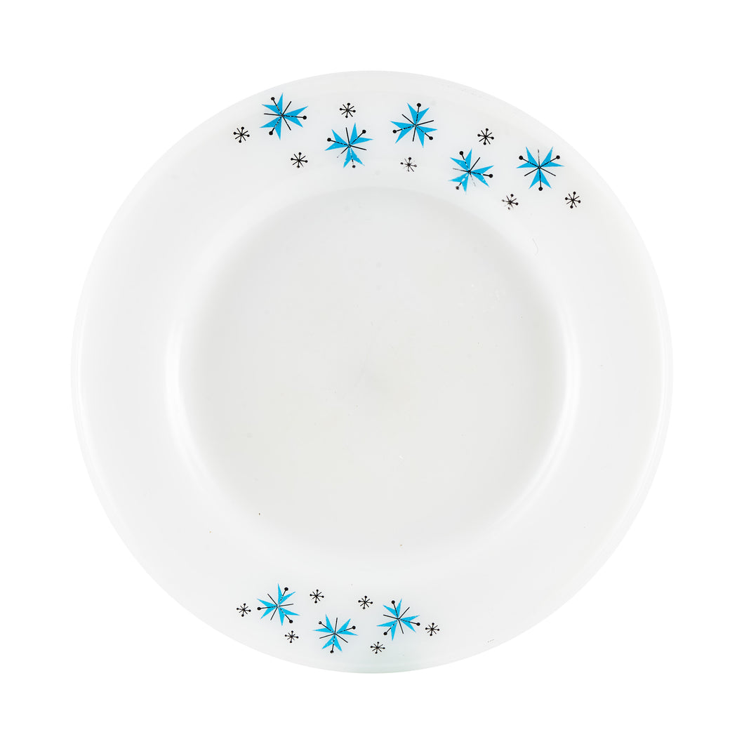 Lg White Plate With Blue And Black Snowflakes