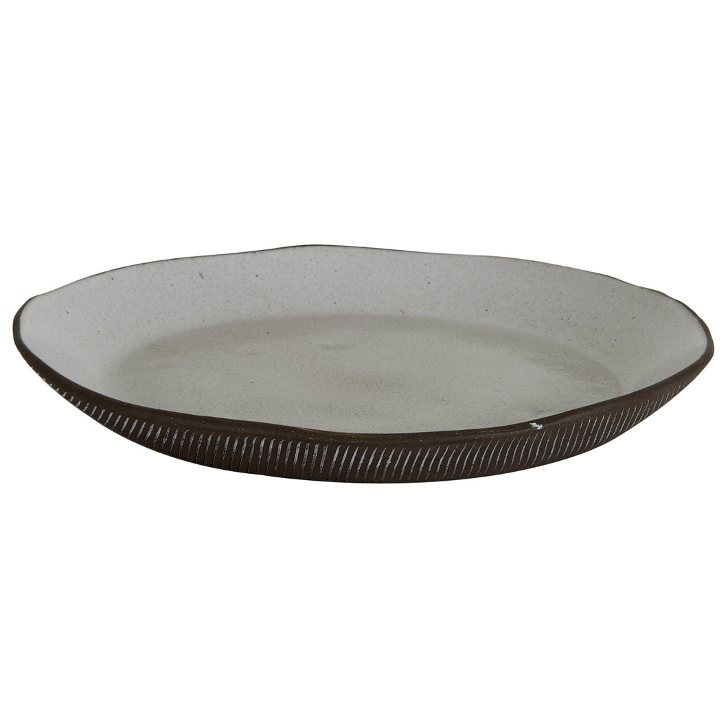 Lg White Platter With Brown Bottom