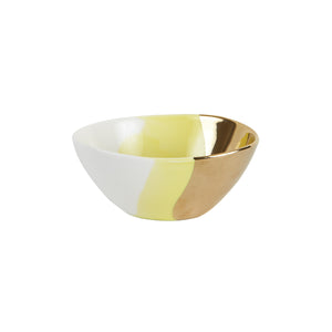 Sm Yellow Bowl With Gold and White