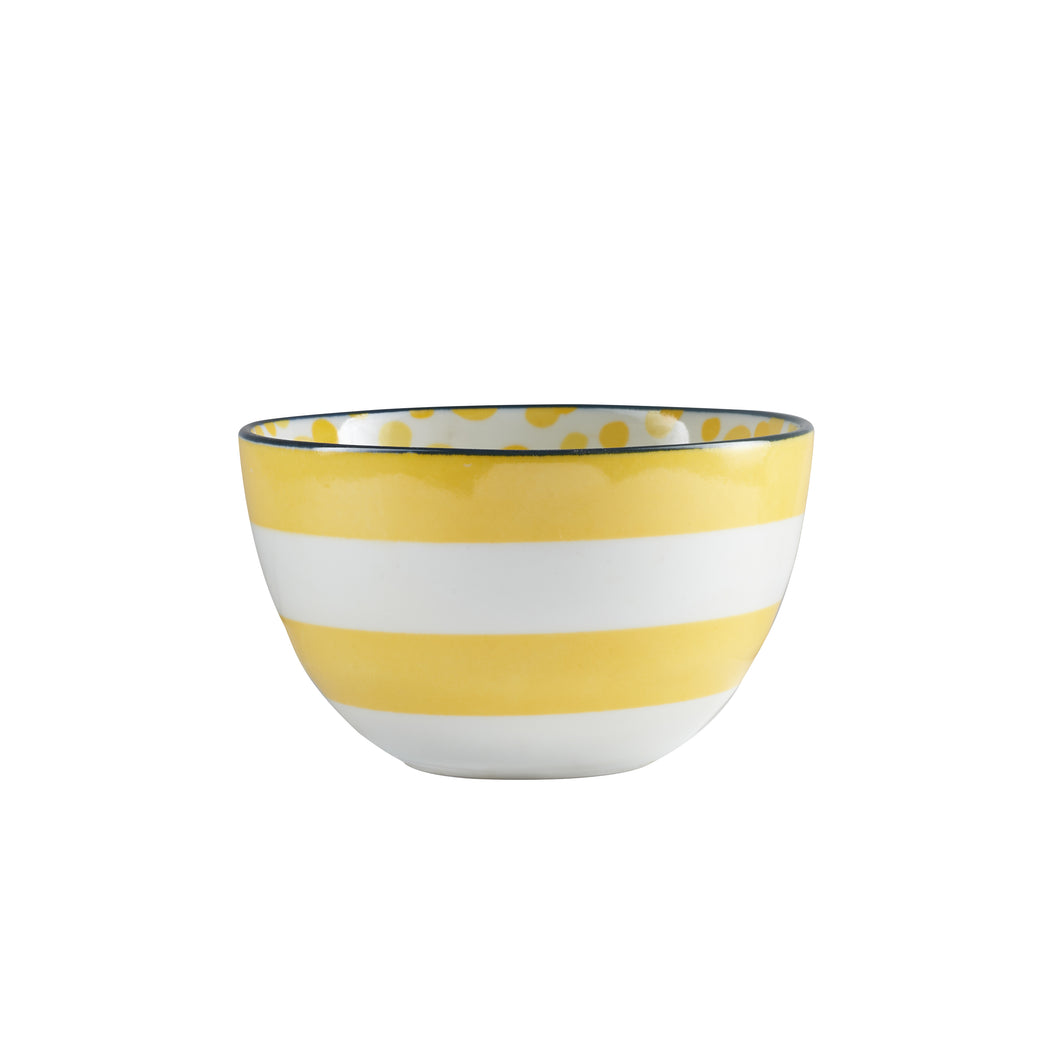 Md Yellow Stripped Bowl With Dark Rim