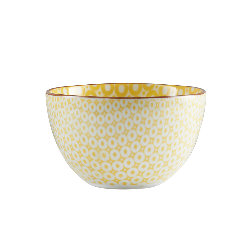 Md Yellow Dotted Bowl With Red Rim