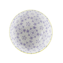 Sm Yellow Footed Bowl With Purple Flower Pattern Inside