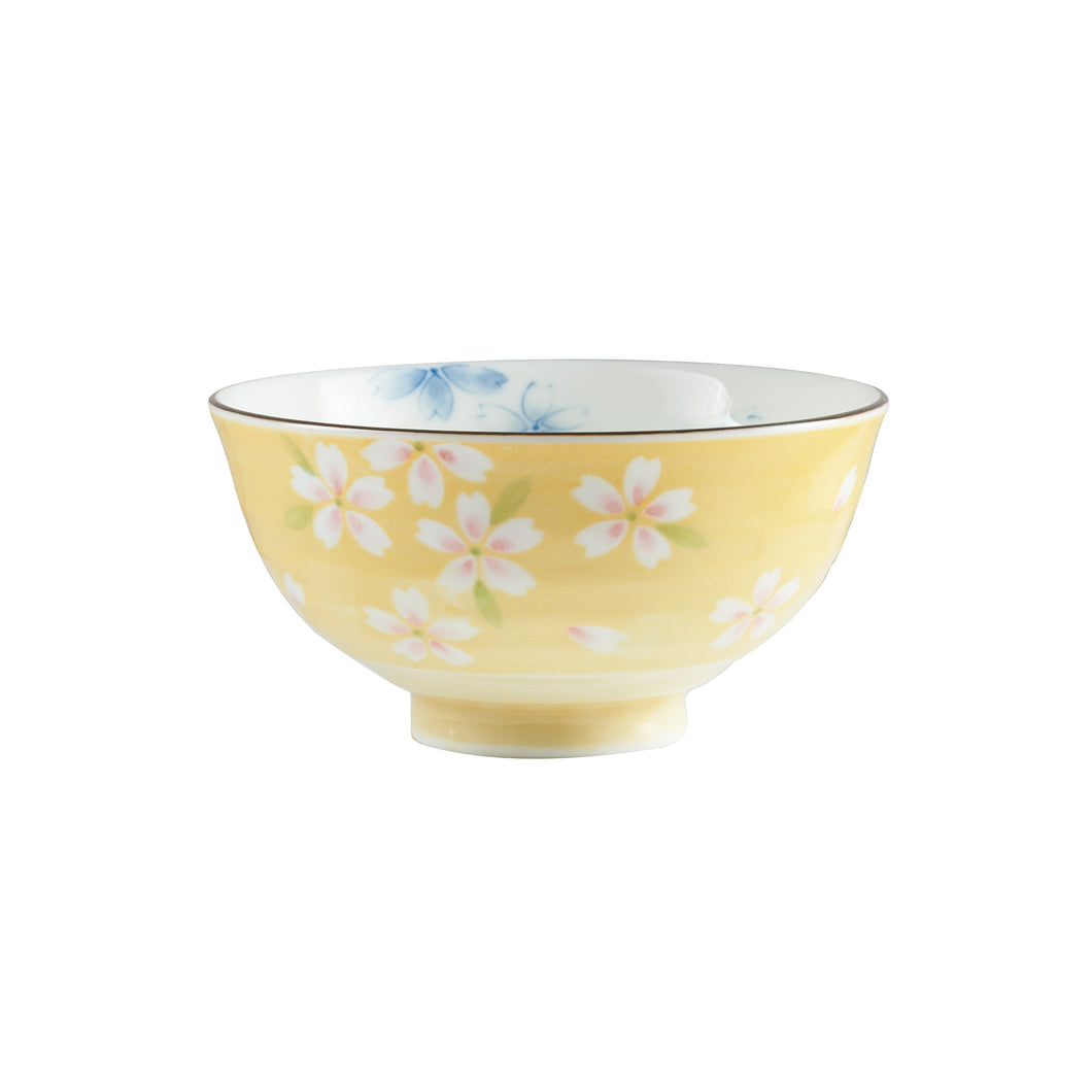 Sm Yellow Footed Bowl With Flower Pattern