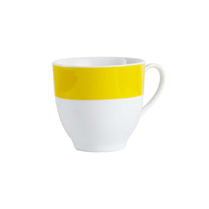 White Tea Cup With Bright Yellow Strip