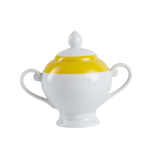 Sm Yellow And White Ceramic Sugar Jar