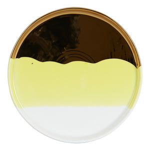 Md Yellow Shallow Plate With Gold and White