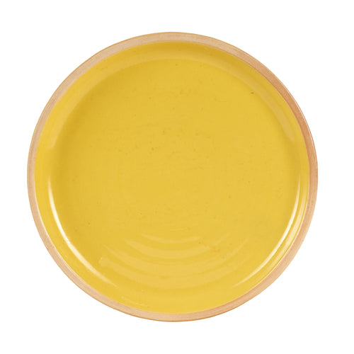 Lg Bright Yellow Plate With A Light Orange Rim