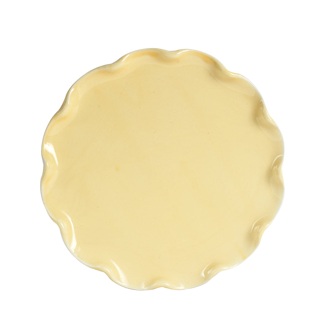 Md Pale Yellow Plate With Wavy Edges