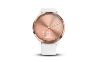 Garmin Vivomove HR Sport | Rose Gold Stainless Steel Bezel with White Case and Silicone Band - Carolina Sportsman Outfitters