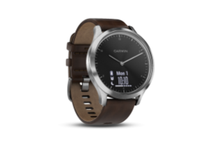 Garmin Vivomove HR Premium | Silver Stainless Steel Case with Dark Brown Leather Band - Carolina Sportsman Outfitters