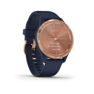 Garmin Vivomove 3S | Rose Gold Stainless Steel Bezel with Navy Case and Silicone Band - Carolina Sportsman Outfitters