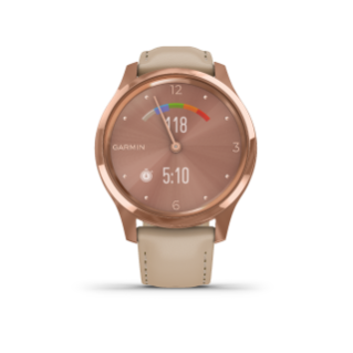 Garmin Vivomove 3 Luxe | 18K Rose Gold Stainless Steel Case with Light Sand Italian Leather Band - Carolina Sportsman Outfitters