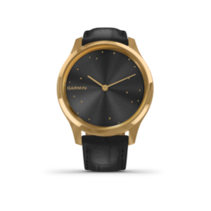 Garmin Vivomove 3 Luxe | 24K Gold Stainless Steel Case with Black Embossed Italian Leather Band - Carolina Sportsman Outfitters