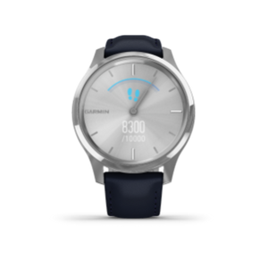 Garmin Vivomove 3 Luxe | Silver Stainless Case with Navy Italian Leather Band - Carolina Sportsman Outfitters