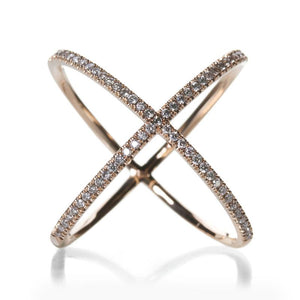 "Eva Fehren | Designer Jewelry An 18k rose gold ""x"" ring with pave white diamonds."