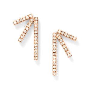 Eva Fehren | Designer Jewelry | A pair of 18k rose gold Sputnik earrings with pave white diamonds.
