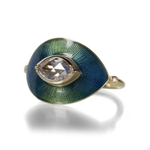 Brooke Gregson | Designer Jewelry | An 18k yellow gold ring with a marquis shaped diamond, hand engraving and enamel.