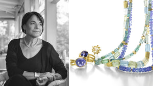 Jewelry designer Barbara Heinrich, 18k yellow gold handcrafted jewelry, faceted tanzanite necklace, aquamarine barrel necklace, tanzanite ring, trillium flower earrings with diamonds, faceted purple sapphire wrap ring, fine jewelry, designer jewelry