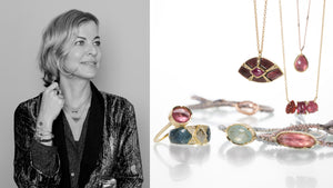 Jewelry designer Brooke Gregson, 18k yellow gold ring with green enamel and diamonds, pink tourmaline ring, woven silk bracelets with aquamarine and pink tourmaline, red enamel necklace with a ruby and 18k yellow gold necklaces with bezel set tourmaline